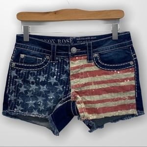 KNOX ROSE USA Flag Sequin Shorts Size 2